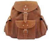 Made in USA Leather Backpack Book Bag - Buckskin Tan Distressed, Rugged