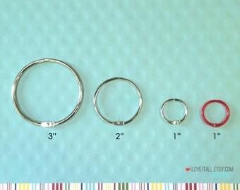 "1"" Book Binder Rings .  Silver . Set of 6 One Inch Bindery Ring Hinges . Mini Album Scrapbook Scrapbooking . Week in the Life December Daily"