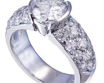 14k white gold round cut diamond engagement ring semi bezel set 2.00ctw H-VS2 egl usa