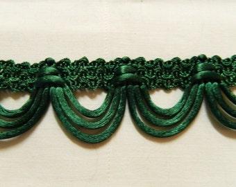 Deep Kelly Green satin loops trim holiday sewing