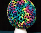 Rainbow Drawstring Slouchy Net Crochet Summer Hat Mesh Tam Multi-Colored Beret