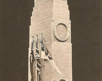 London Cenotaph Memorial Whitehall Covered in Flowers – Memorial to the Fallen 1933 Vintage Photo Postcard