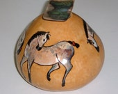 Paint Horses  gourd vessel with Abalone Stopper