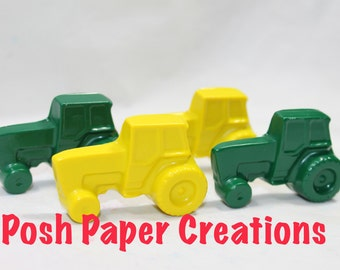 10 sets of 2 tractor crayons in cello bag tied with ribbon - 20 crayons - yellow and green colors