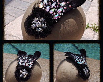 Black Feather Swarovski Crystal AB Hairpiece Fascinator Comb