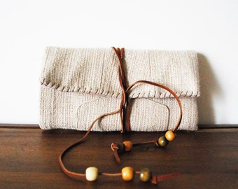 Beige Cloth Trifold Clutch Wallet with Cognac Leather Tie