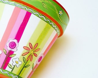 """Hand Painted Terracotta 6 Inch """"Sherbet Stripes""""- Made to Order"""