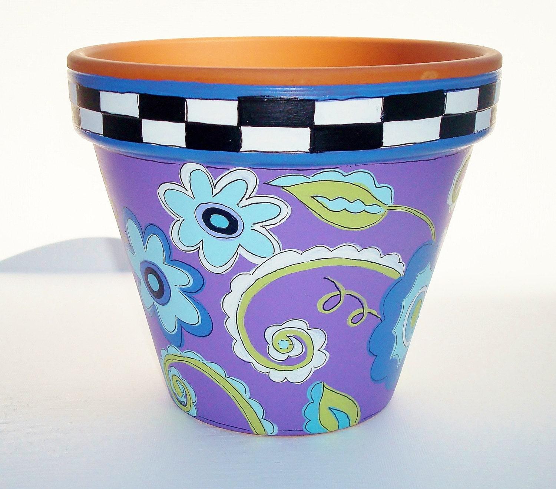 Flower Pots Terracotta: Hand Painted Flower Pot Terra Cotta Whimsical By
