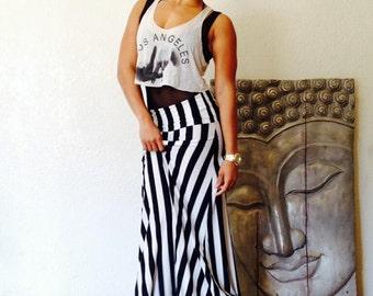 Black and White Vertical Stripe Aline Maxi Skirt