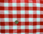 Red and White Checkered Fabric (Squares are 1 inch) - 1 yard - More Available