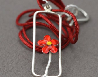 silver necklace, Flower necklace, liquid glass necklace, red enamel necklace, yellow enamel necklace
