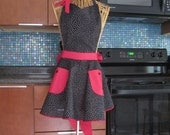 Womens Black Polka Dot Apron with Red Contrast, Black Polka Dot Apron, Retro Inspired Polka Dot Apron, Black and Red Apron, Black Polka Dots