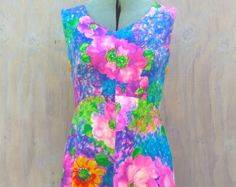 Vintage 60s Dress, 1960s Alice Polynesian, Mod Retro Lounge Beach Hawaii Hawaiian Luau, Pink Neon, Tropical Pool Party
