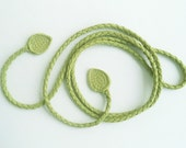 lime green leather belt, necklace withe decorative leaf ends, braided by Tuscada. Ready to ship.