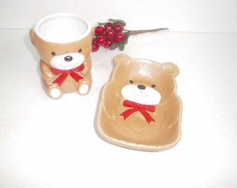 Vintage Teddy Bear Toothbrush Holder and Soap Dish, Childrens Bathroom Decor