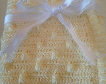 Free Shipping - Crochet Baby Blanket Crochet Afghan for newborn gift or christening  soft butter yellow bubble stitch popcorn stitch