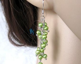 Pearl Earrings -4-5mm Green Freshwater Pearl Dangle Earrings D8S Off Round - Free shipping