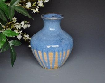 Blue Ceramic Bud Vase Handmade Stoneware Pottery Vase A