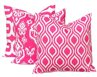 Hot Pink Pillow, Decorative Pillow, Hot Pink Throw Pillow Cover Toss Pillow Cushion Cover Toss Pillow Three All Sizes Hot Pink White Tiles