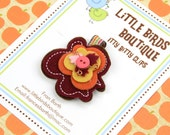 Baby Toddler Hair Clips/Bows - Fall Leaf in Gold Brown Yellow Orange Felt Floral