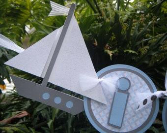 """Nautical Sailboat and Anchor """"it's a boy"""" BANNER in light  blue, gray and white"""