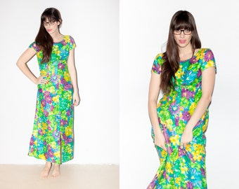 Vibrant Blue and Green 1970s Floral Cap Sleeve Maxi Dress. M