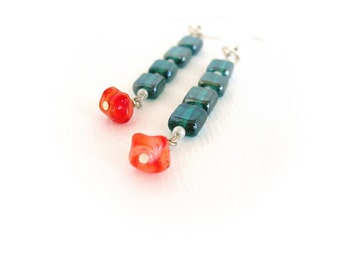 Dangle earrings, green glass red shell beads, geometric earrings, everyday jewelry under 15, square earrings, stacked earrings