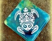 Sea Turtle Necklace - Fused Glass