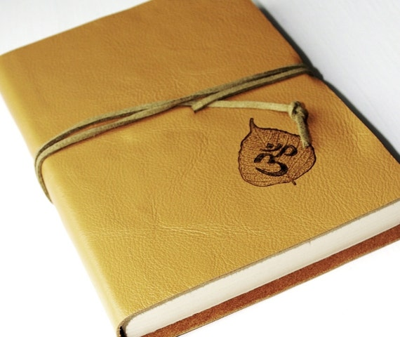Bodhi Om Golden Leather Journal LINED Paper Diary Jotter Gift for Writer