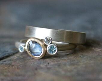 Blue Sapphire Swiss Blue Topaz White Sapphire Engagement Wedding Set 14K Gold Sterling Silver