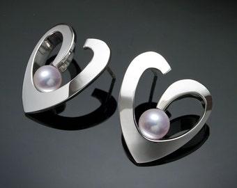 pearl earrings, heart earrings, Argentium silver, wedding earrings, valentine earrings, fine jewelry, artisan jewelry, for her - 2401