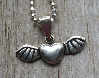 Sterling Silver Necklace Flying Heart