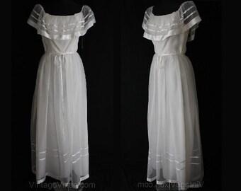 Size 4 Garden Party Dress - Small Innocent White Evening Frock - Sheer Organdy & Satin Ribbon - Waist 24.5 - Deadstock - 34860