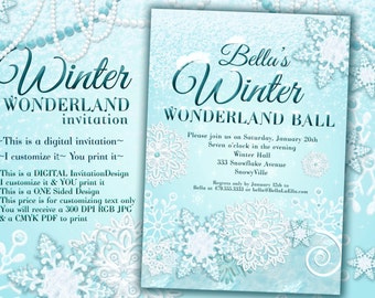 Winter Wonderland Party, Winter Invitation, Winter Party Invitation, Snowy Invitations,