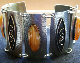 Silver Bracelet with Striped Brown Glass Stones