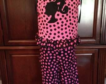 Hot Pink and Black Barbie Outfit size 6 months to size 10