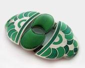 Art Deco Czech Buckle Vintage Green Enamel  Czech Belt Buckle Czechoslovakia Gripoix Glass