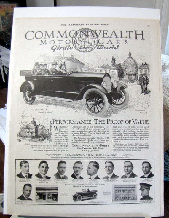 1920 Commonwealth Motor Cars Antique Auto Joliet Illinois Sep