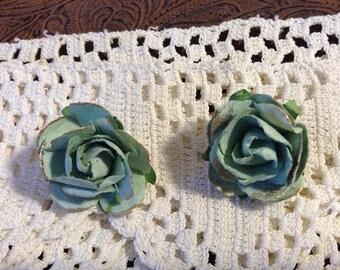 Mint Green Paper Flower Post Earrings
