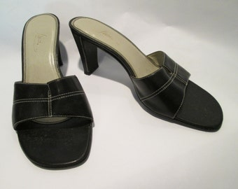 Vintage Black Heels/Sandals, by Fioni, Sz 7