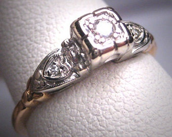 Antique Diamond Wedding Ring Vintage Art Deco Double Hearts Engagament