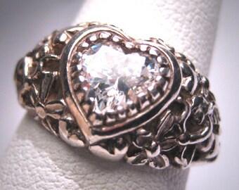 Antique Vintage Lab Diamond Wedding Ring Heart Cherub Engagement Art Nouveau