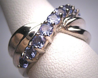 Vintage Tanzanite Ring Band Estate Wedding Silver Bow Anniversary