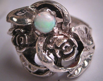 Antique Vintage Australian Opal Ring Silver Floral 1950 Wedding