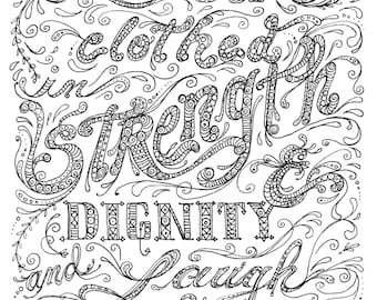 Instant Download Coloring page Scripture Art to color and frame YoU be the Artist