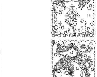 4 Yoga Cards to Color be the Artist Instant Download Fun Funky Yoga Girls