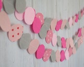 Garland - Wedding decoration pink and gray felt circles garland- birthday decor- Party decorations ,christmas decor, christmas decoration,