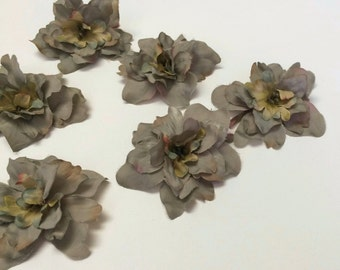 Silk Flowers - 6 Dusty Blue Green Delphinium Blossoms - ALMOST 2.75 Inches - Artificial Flowers