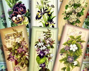Vintage Victorian Flowers Dominoes 1 x 2 Inch Digital Collage Pendant Images Keychains Magnets Decoupage Printable Instant Download