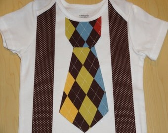 Iron On Brown Argyle Tie and Brown/White Polka Dot Suspenders DIY